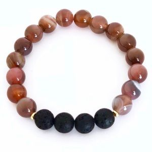 Jewelry - Natural Botswana agate and lava rock bracelet